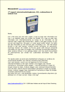 De zoekmachine SEO optimalisatie nieuwsbrief